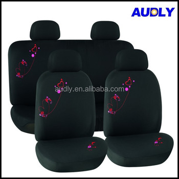 HY L3004 Fancy Car Seat Covers Full Set Black With Red Heart Printed