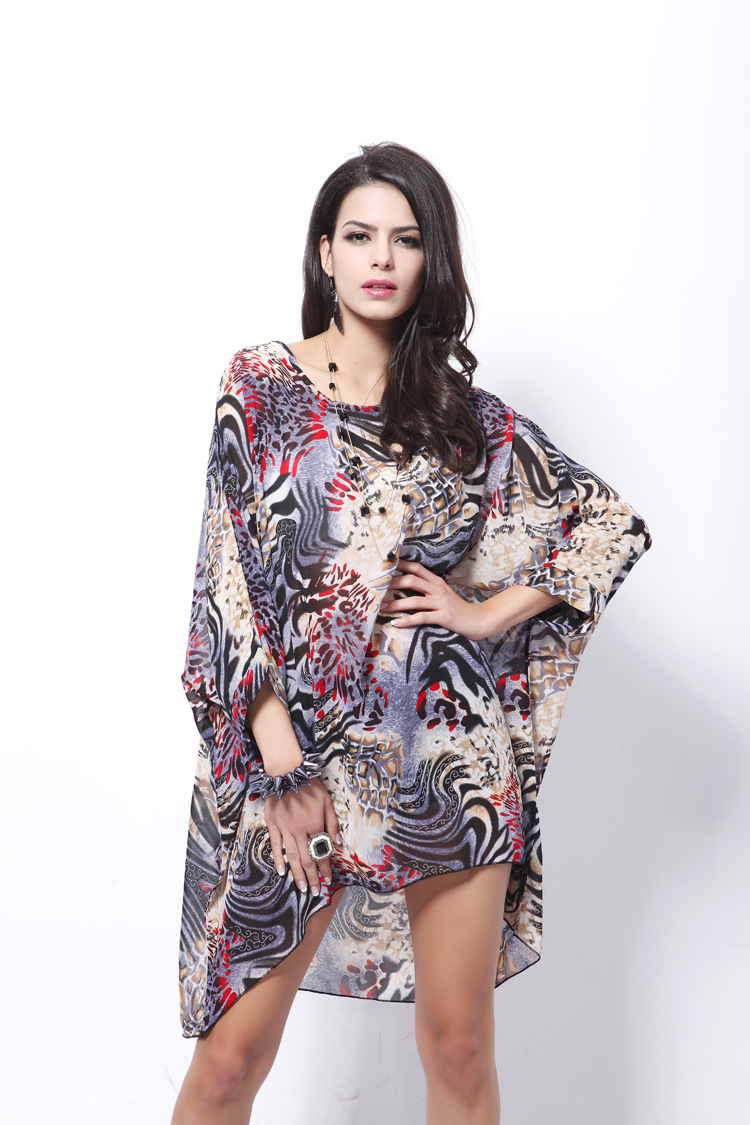 Buy Casual Summer Dresses Leopard Print Loose Plus Size Bohemian ...