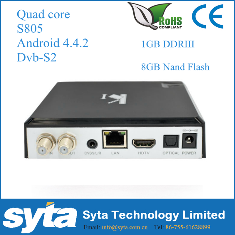 SYTA Quad core android 4.4 amlogic s805 K1 DVB-S2 <strong>Tuner</strong> Kodi15.2 Android 4.4 <strong>tv</strong> box Amlogic S805 Quad Core OTT <strong>TV</strong> Box k1 dvb s2