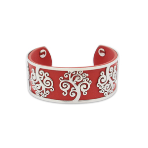 Cuff Woman red Leather Open Bracelet Tree Life Stainless Steel Bangle