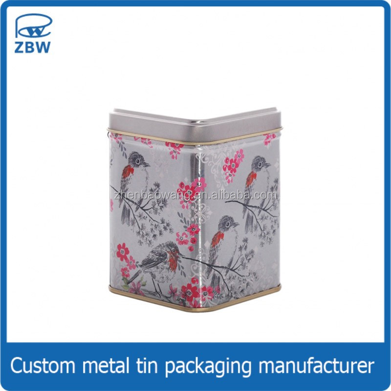 Customized logo square black tea metal box plain tea storage tin box