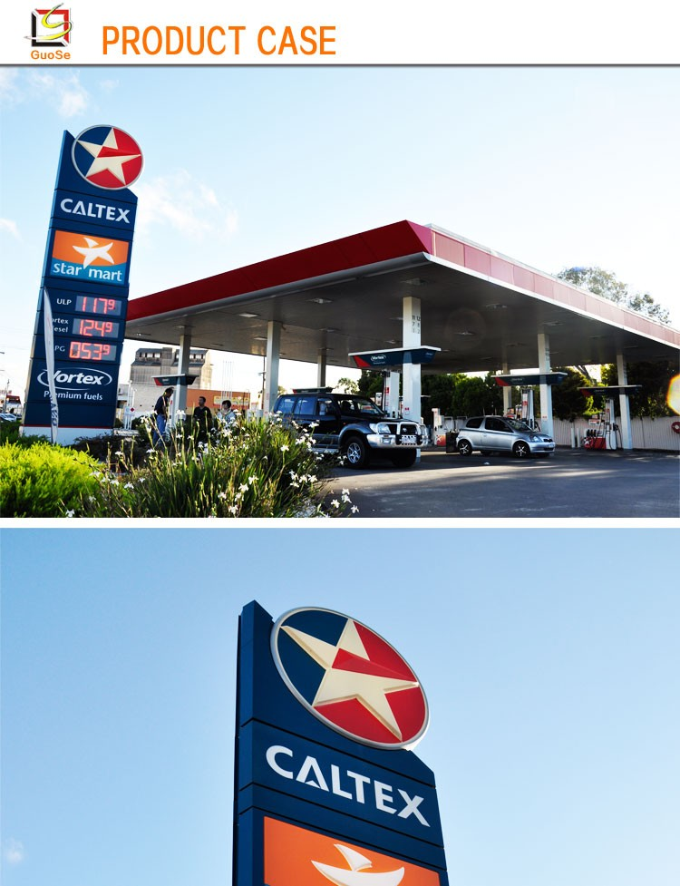 Outdoor Advertising Caltex Petrol Pylon Signs With Led Gas