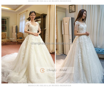 333b95c091c6 Lace Appliqued Sweetheart Neckline Half-sleeve Mermaid Wedding Dress With  Chapel Train