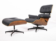 Buy Eaze Lounge Chair in Black Leather and Palisander Wood