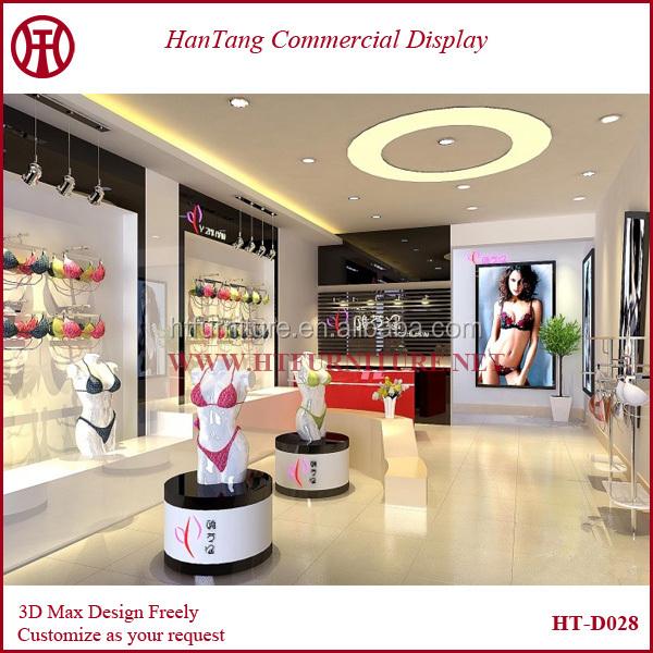 First class Shopping Center Wood Acrylic Garment Shop Interior