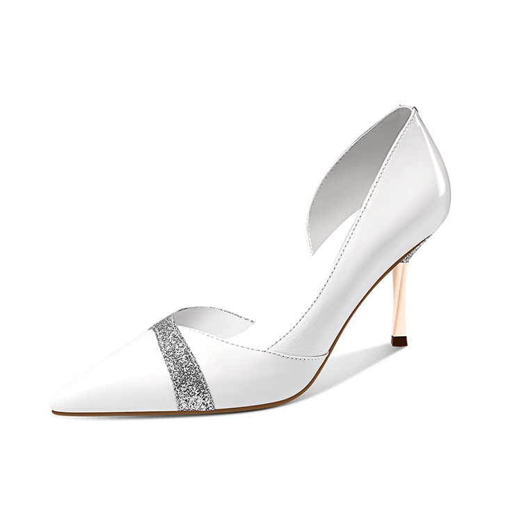 Factory Wholesale White High Heel Bridal Shoes Woman Silver Wedding Shoes