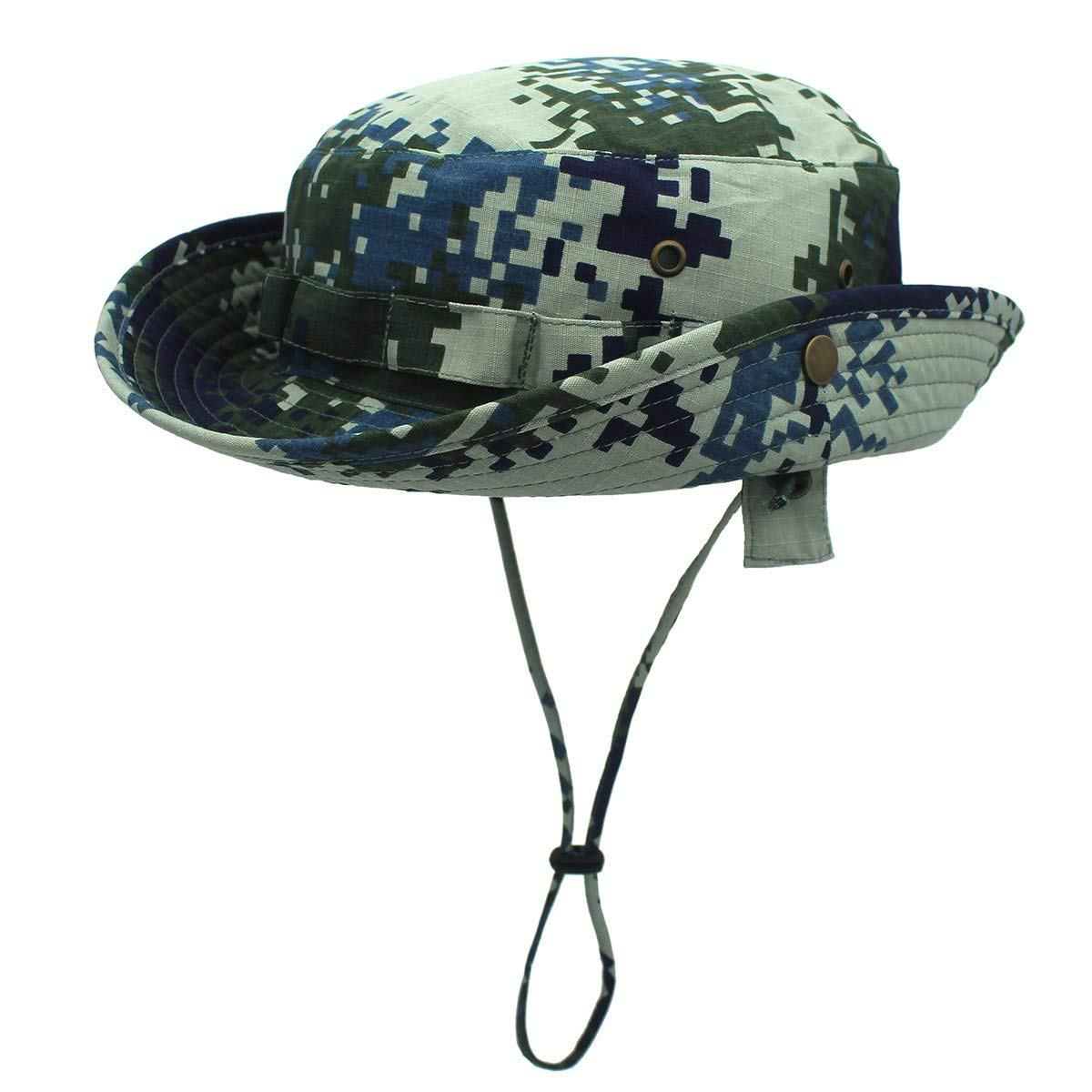 Get Quotations · LLmoway Men Roll up Camo Bucket Hat Sun Protection Outdoor  Hunting Hat with Cord 21844eb98682