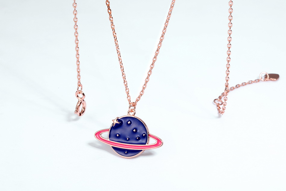 Dainty rose gold blue enamel jewelry star saturn planet 925 silver necklace
