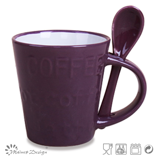 Wholesale embossed Cup with Spoon for Ceramic Mug