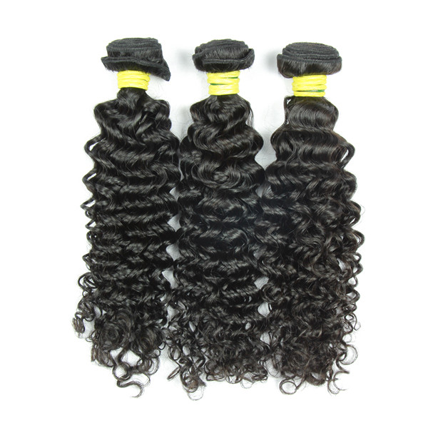 Good quality natural black Mongolian curly fusion hair extensions