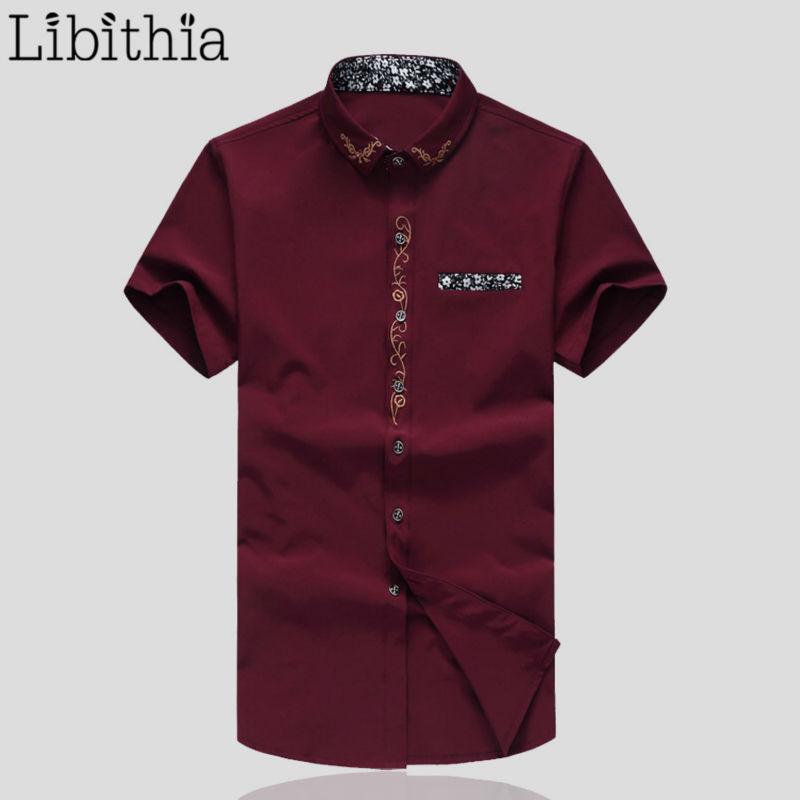 Compra mens camisas de vestido bordado online al por mayor