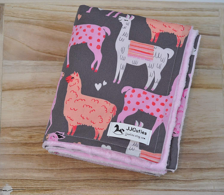 Personalized Pink Coral Llama Minky Baby Blanket Nursery Girl