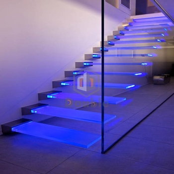 Glass Staircase Straight Led Light Stairs Design Buy Led