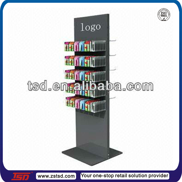 TSD-M728 custom double sided floor display stand for mobile accessories,metal accessory rack,blister pack display stand