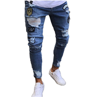 USA men Embroidery skinny ripped jeans pants