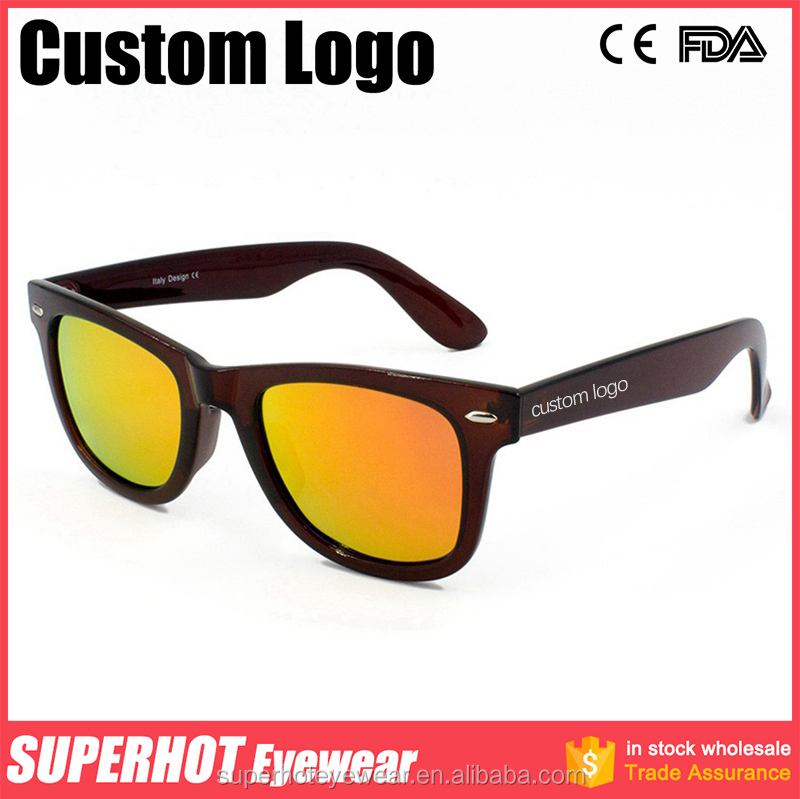 TR90 Polarized Custom Logo Sunglasses Clear Brown Frame <strong>Orange</strong> Mirrored Lens