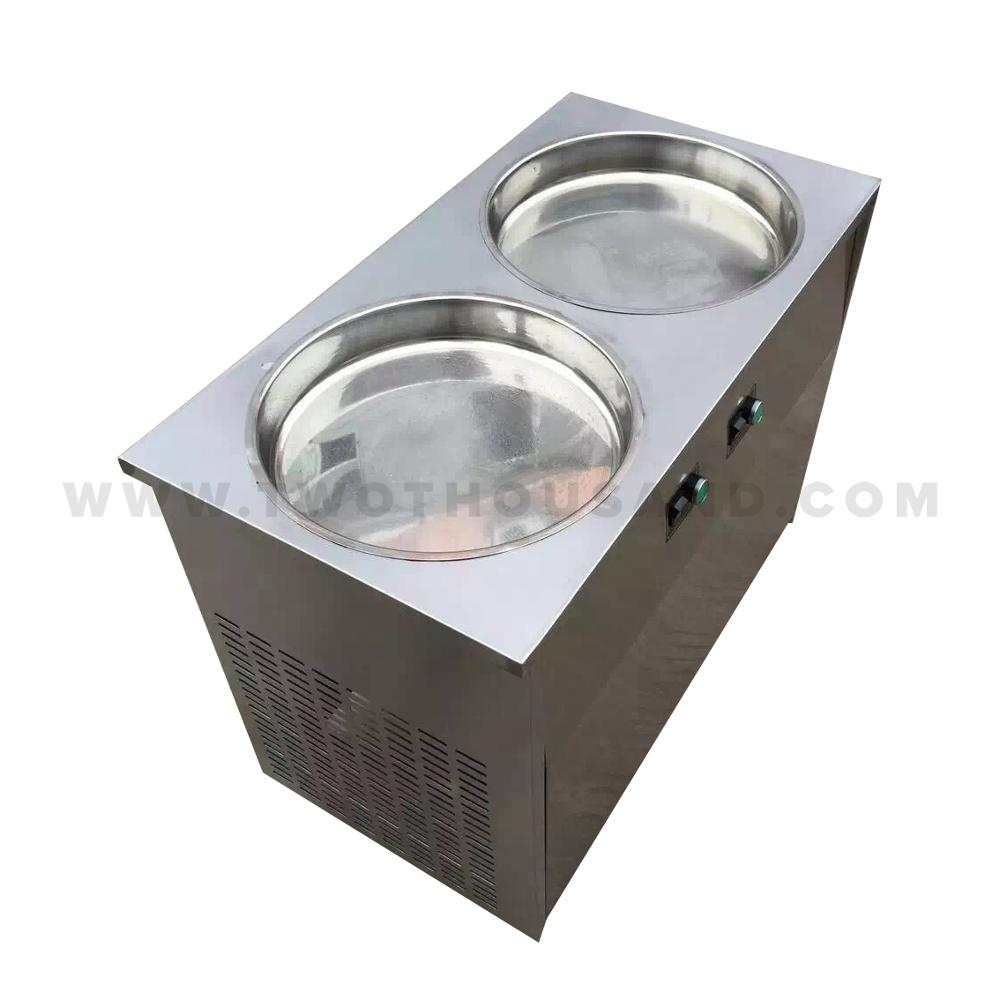 High Quality Two Compressors Flat Round Pan Fried Ice Cream Roll Machine