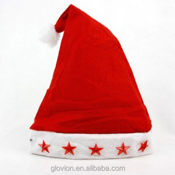 0fe2dd5a7c6ce Best sale christmas hat with five flashing star funny santa hats decorated santa  hat