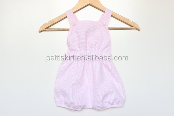 Super adorable! wholesale Baby romper overalls - pink seersucker stripe