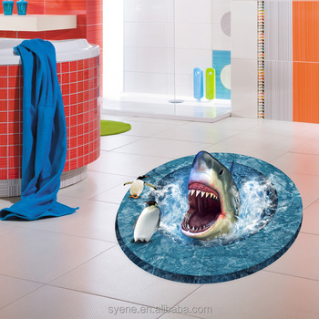 3d cartoon underwater world penguin shark bathroom floor tile stickers waterproof decorative for How do sharks use the bathroom