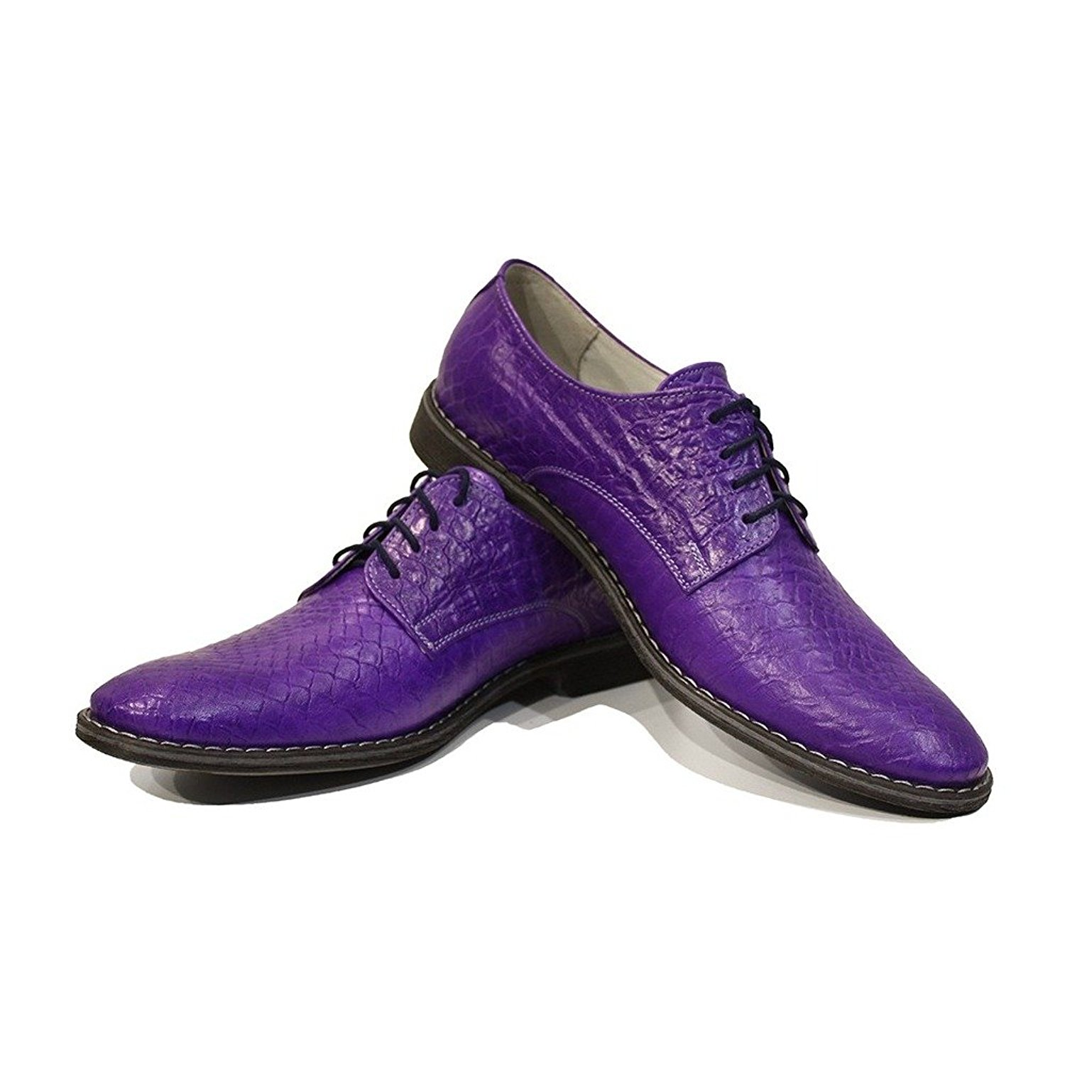 Modello Vitale - Handmade Italian Mens Purple Oxfords Dress Shoes - Cowhide Embossed Leather - Lace-up