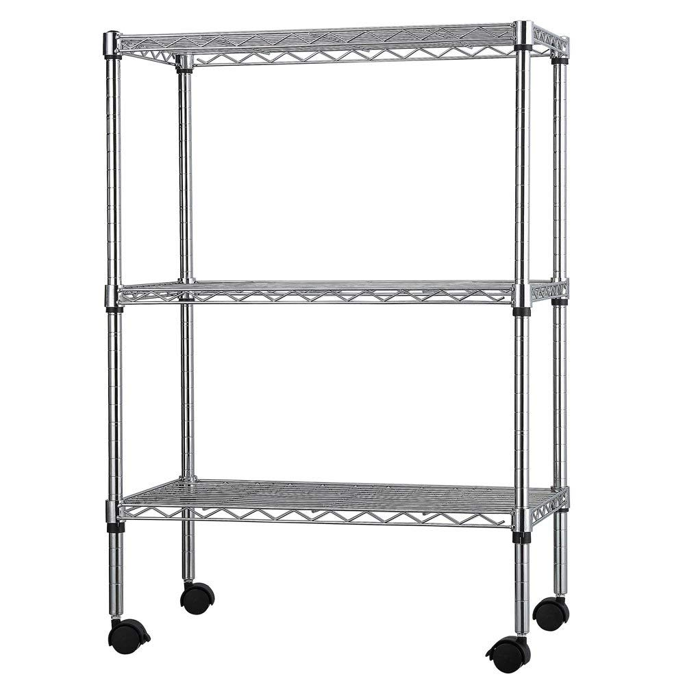 "3-Layer Iron Shelf with 1.5"" Plastic Wheels 350x600x850 (Silver, Chrome Plated)"