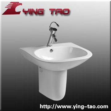 Modern basin china made chaozhou manufacturer bathroom ceramic pedestal with wash sinks one faucet hole Italy design