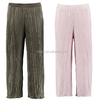 2018 Summer Boho Clothing Ruffle String Waist Cotton Loose Fitted Sweat Jogger Pant Pleated Wide Leg Cropped Culotte Women Plain