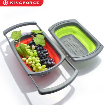 Kf520026 Vegetables Hanging Fruit Basket Kitchen Plastic Basin Sink Drain  And Water Sieve Frame/square Handle Fruit Drain Basket - Buy Hanging Fruit  ...