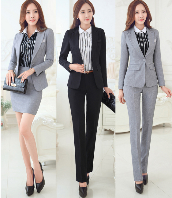 926c6e4b8 2016 moda tela de lino mujeres ropa formal uniforme trajes con pantalones