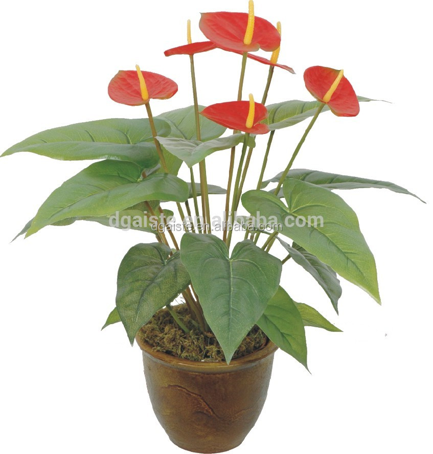 rubber red palm heart shape leaf small fake green plant bonsai