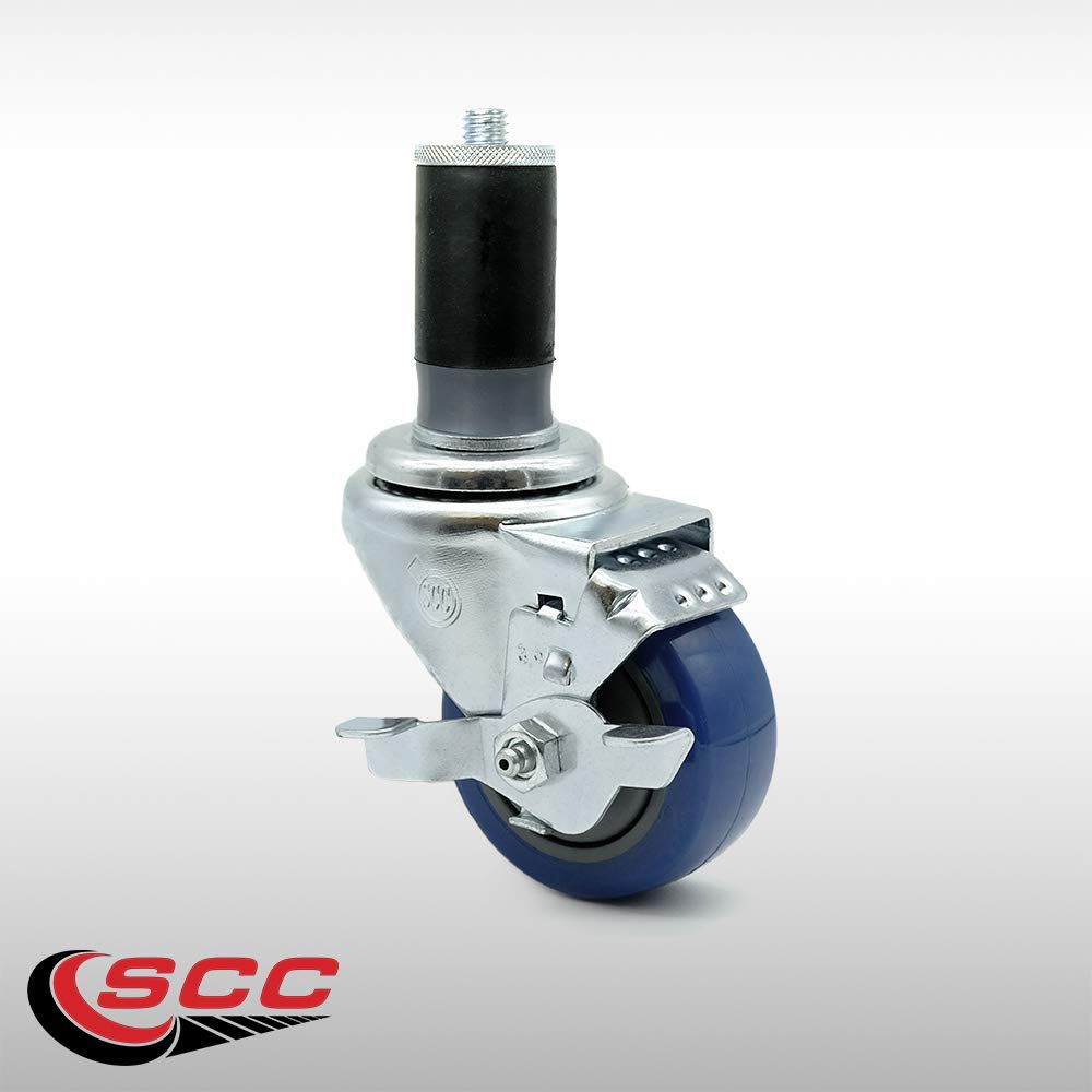 "Service Caster - 3.5"" x 1.25"" Stainless Steel Blue Polyurethane Wheel Swivel Caster w/1-5/8"" Expanding Stem w/Brake - 250 lbs/Caster"