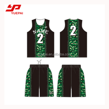 Digital printing custom made sublimation green basketball jersey design