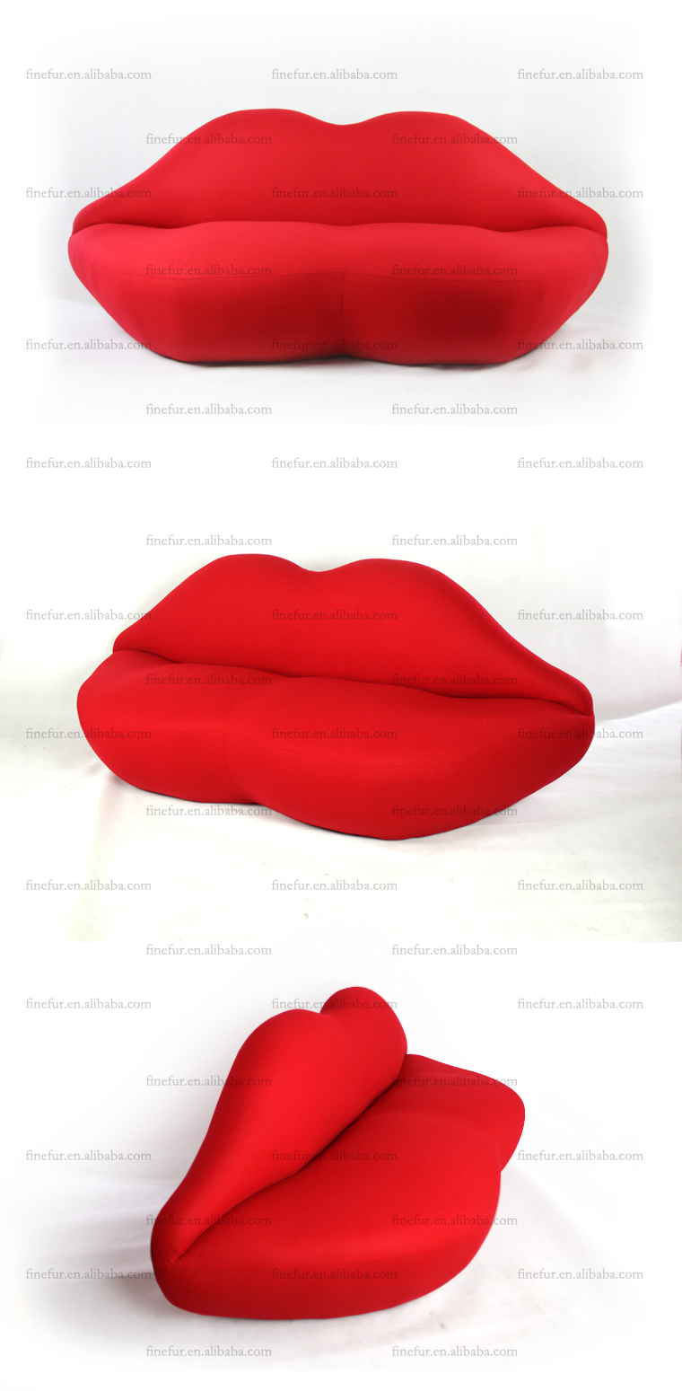 American Style Wooden Frame Cushion Bedroom Red Lip Sofa Foshan Top Furniture