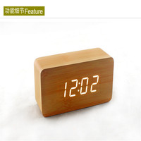 Desktop Table Clocks LED Alarm Wood Wooden Digital stand clock