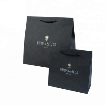 Factory cheap high quality luxury shopping packaging custom matte black boutique retail paper gift bag