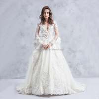 Guangzhou Factory Real Sample Latest Alibaba long sleeve lace wedding dresses