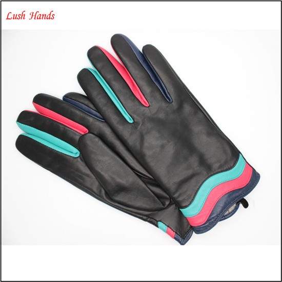 ladies fashion genuine sheepskin leather hand gloves colorful with Article color clip