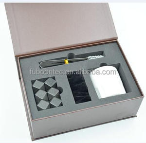 14 faces cutting polished black Marble whiskey stone with tongs/cup/velet bag business gift set