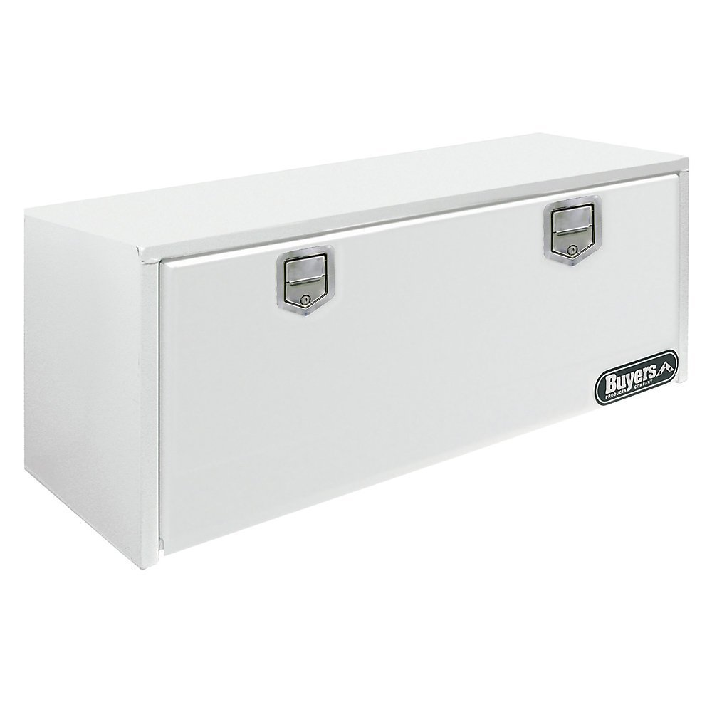 Buyers Products White Steel Underbody Truck Box w/ Paddle Latch (18x18x48 Inch)