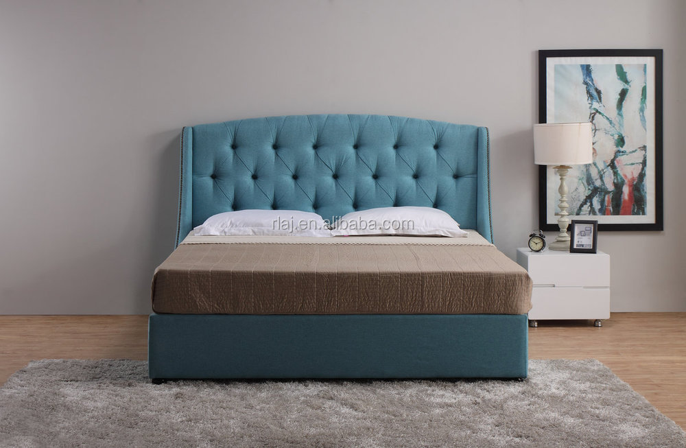 Linen Wingback Panel Bed set with tufted headboard, king, light blue