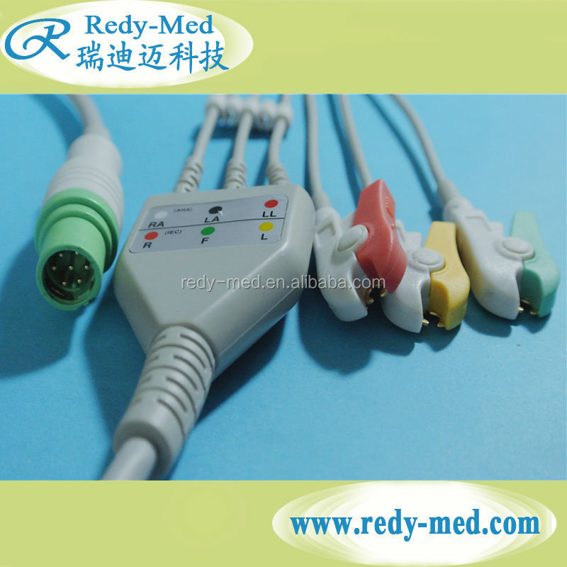 Compatible Siemens Draeger One-Piece ECG Cable 3 leads with grabber