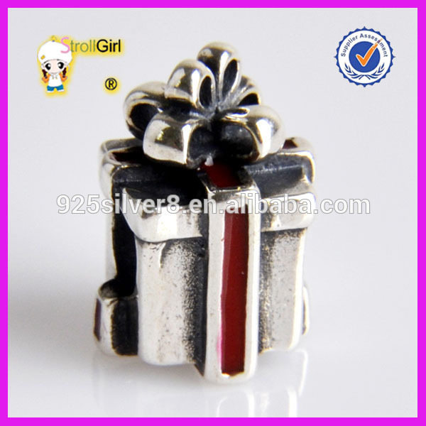 Christmas Charm 925 Sterling Silver Gift Box Charm Beads Factory Price