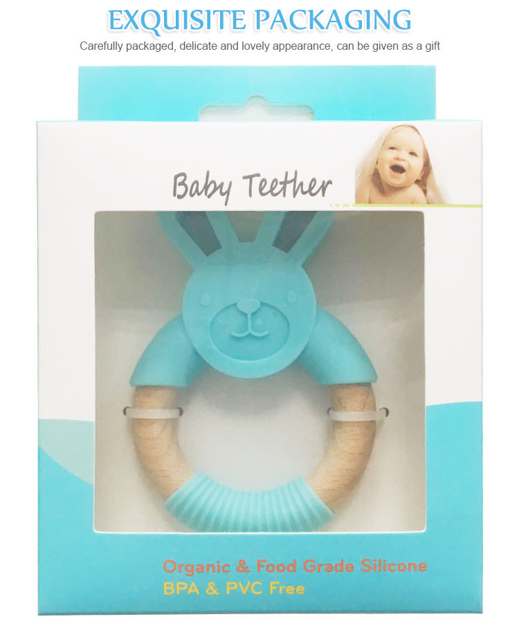 BPA free silicone baby teething ring teether