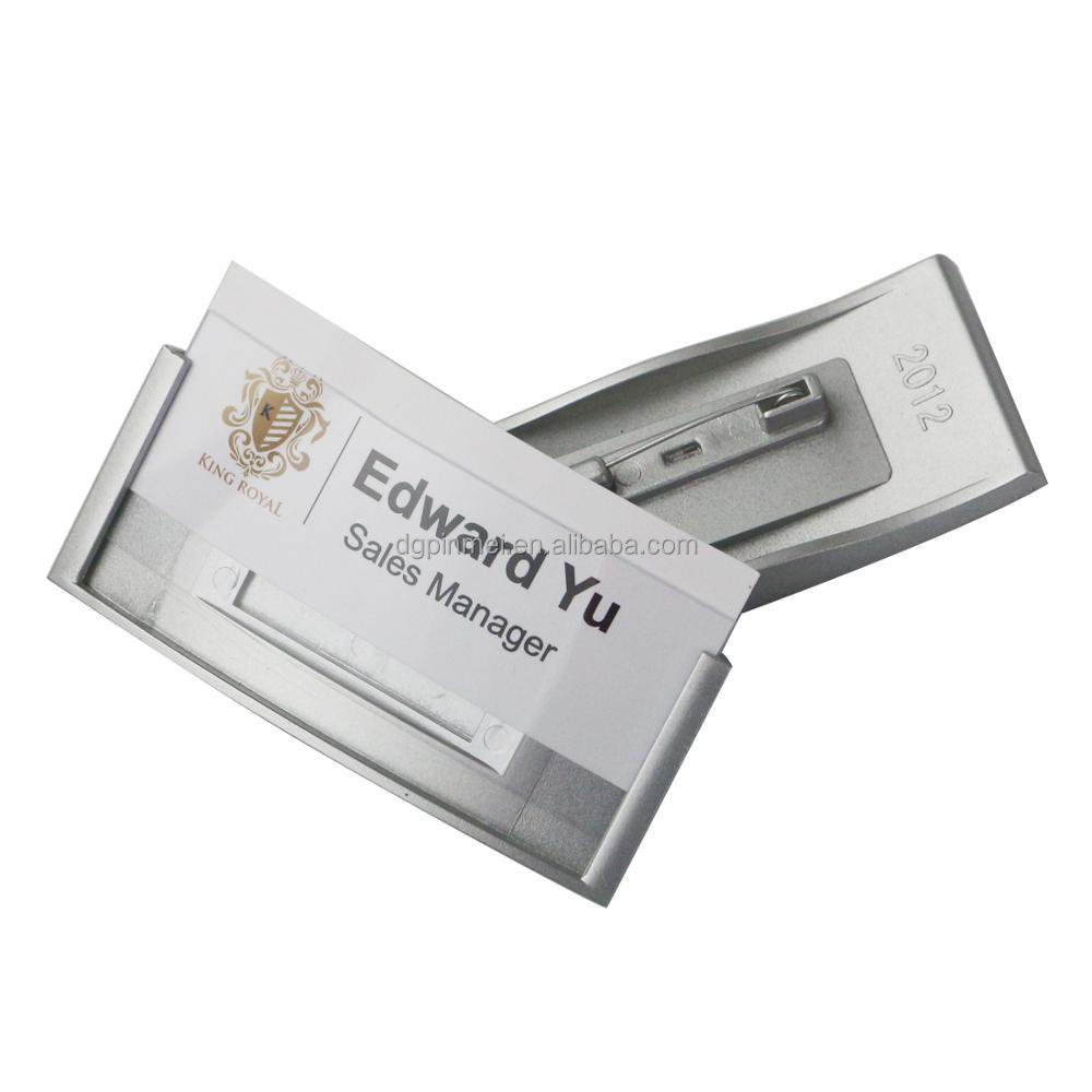 Replaceable paper ID card name badge with safety pin