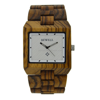 Eco-friendly handmade natural square bamboo/zebra wood wrist watches with customised logo