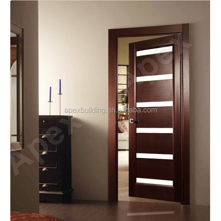 Solid Wood Veeneer Door /Laminated Glossy White Oak Finished Contemporary Interior  Door Wood Door Design