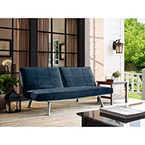 Upholstery Folding Futon Sofa Bed, Sturdy Metal Frame and Legs, Adjustable Recliner Lounger, Multi Function Furniture,Saves Space,Living Room,Family Room,Perfect for Overnight Guest, Navy Blue Finish