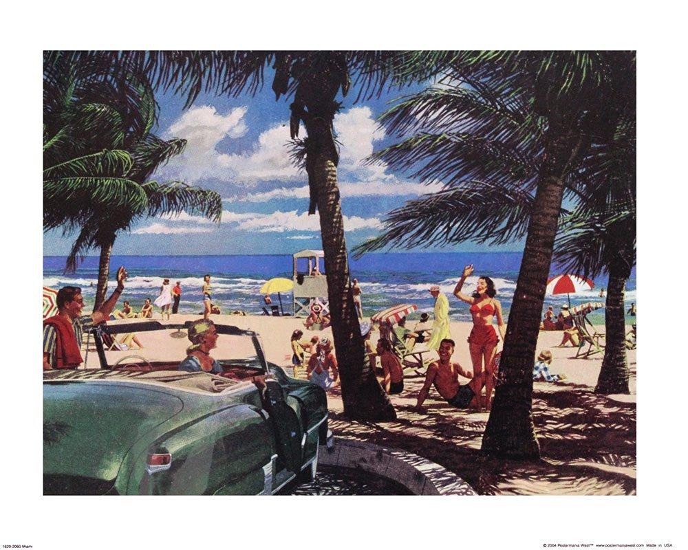 Miami Florida, South Beach. Vintage Art Print Poster (20 x 16)