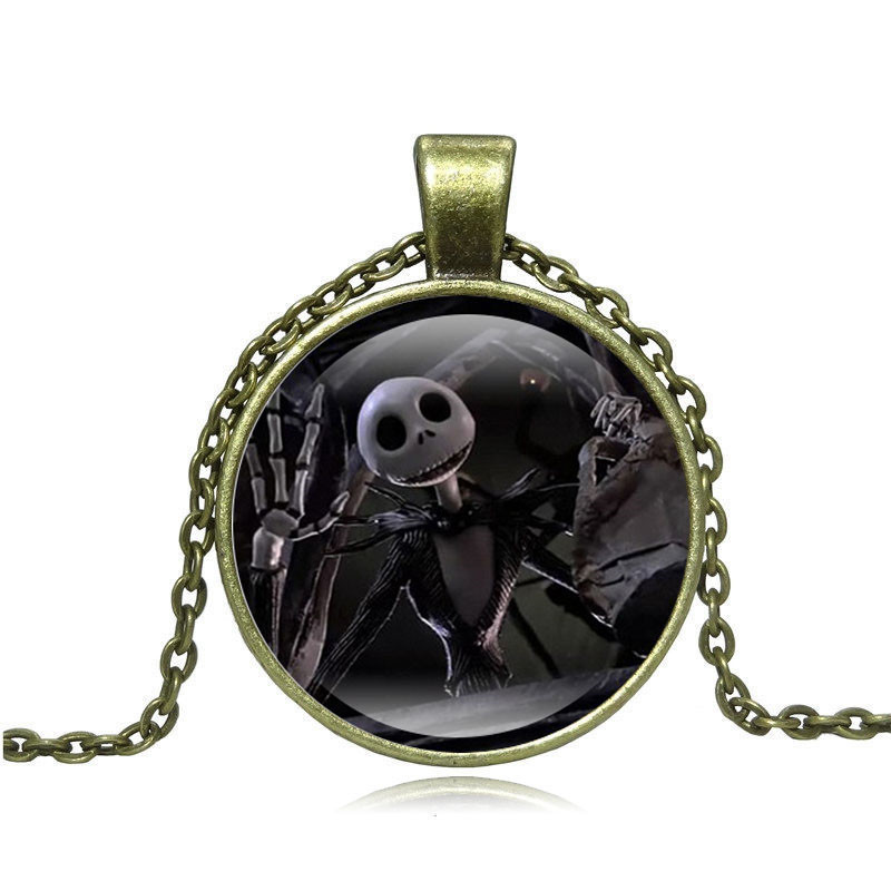 2017New Style Fashion Charming Custom Jack and Sally Necklace Nightmare Before Christmas